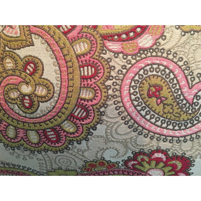 This is one of two custom-tailored, brightly-colored lumbar pillows in a paisley designed tapestry of unnown origin. They...
