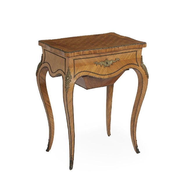 Exceptional late 19th century (1860-1870), napoleon III period, work table, the hinged, shaped rectangular top with...