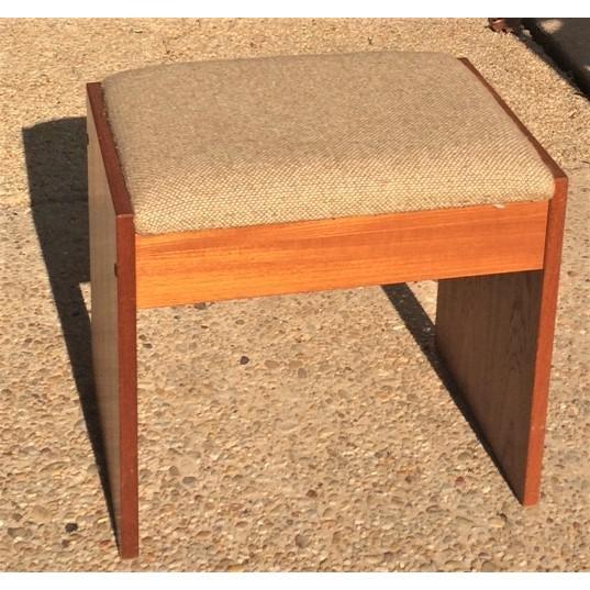 Danish Modern Upholstered Teak Vanity Stool For Sale - Image 4 of 4