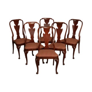 Baker Mahogany Set 6 Queen Anne Style Dining Chairs For Sale