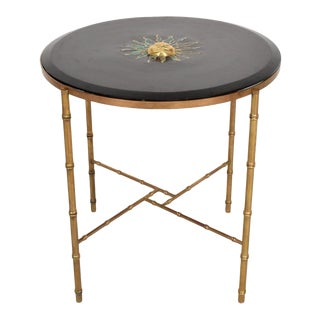 Mexican Modernist Center Table in Brass, Wood and Malachite, Pepe Mendoza For Sale