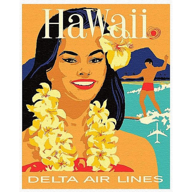 Matted and Framed Vintage Hawaii Travel Poster - Image 4 of 4