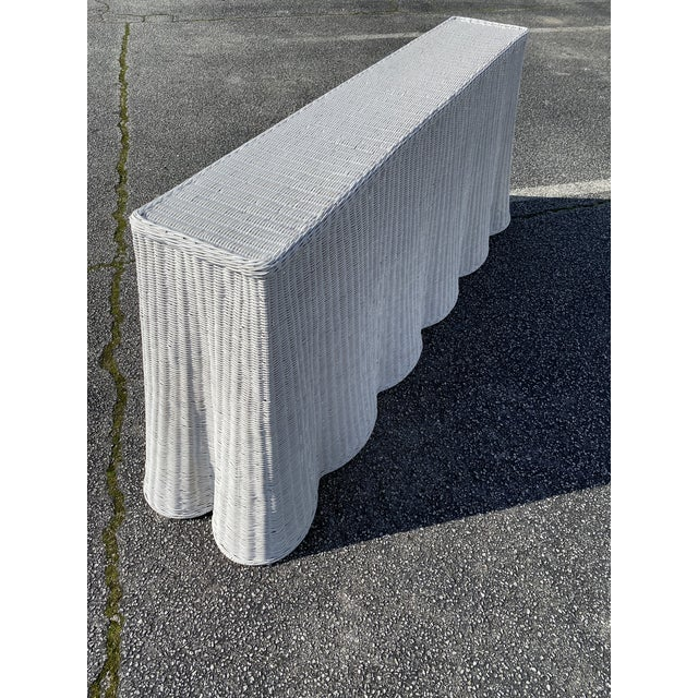 """French Natural Rattan Console Table 79"""" Long in White For Sale - Image 3 of 10"""