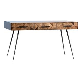 Oak Diamond 3-Drawer Desk For Sale