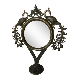 Sarreid Bronze Peacock Table Mirror For Sale