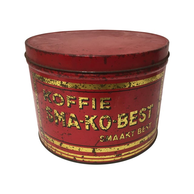 Vintage European Coffee Shop Red Display Tin For Sale