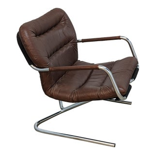 1970s Mid-Century Modern Danish Style Cantilevered Chrome Leather Sling Chair For Sale