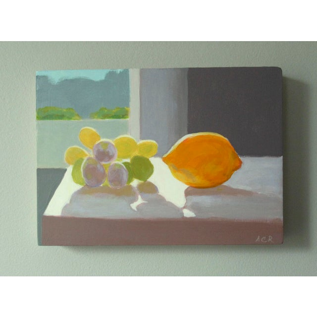 Grapes with a Lemon, glowing in the afternoon sunlight. This painting is 5 x 7 inches, acrylic on panel, signed, wired and...