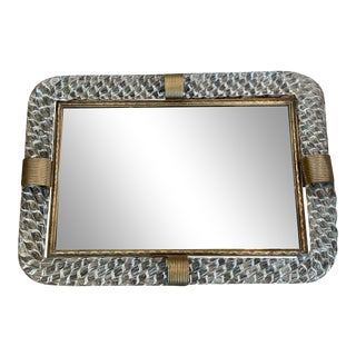 Murano Glass and Brass Vanity Tray For Sale