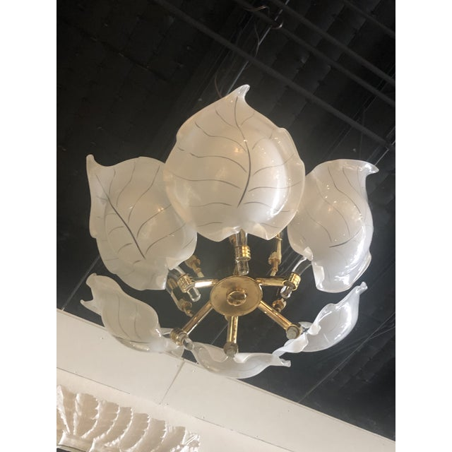 Gold Vintage Italian Hollywood Regency Murano Glass Brass Tropical Leaf Chandelier For Sale - Image 8 of 10