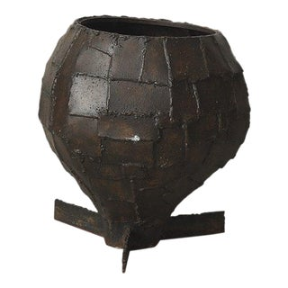 Paul Evans, Welded Steel Patchwork Urn, USA, c. 1970s For Sale