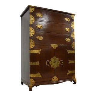 Asian Style Chestnut & Brass Dresser