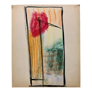 """Donald Stacy """"Red Sun"""" C.1950s Gouache & Oil Pastel Mid Century Abstract For Sale"""