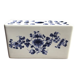 1990s Vintage Portuguese Blue and White Bud Planter For Sale