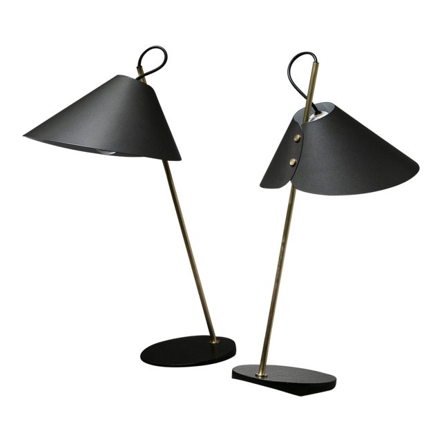 """Pair of """"Base Ghisa"""" Table Lamps by Caccia Dominioni for Azucena For Sale"""