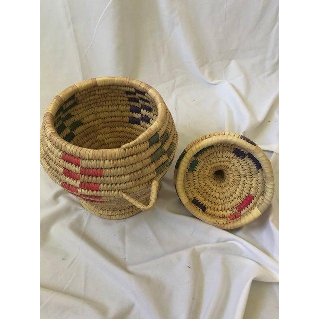 """Folk Art Vintage Hand Woven Grass Basket """"Jar With Lid"""" For Sale - Image 3 of 7"""