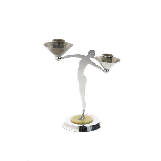 Mid 19th Century Art Deco Nude Dancers Chrome Candle Holders - a Pair For Sale - Image 5 of 10