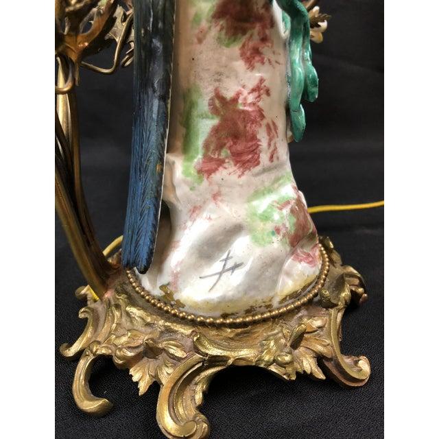 Meissen Porcelain Porcelain and Ormolu Parrot Lamp After Meissen, German, 3-Light For Sale - Image 4 of 8