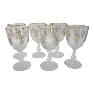 1960s Hollywood Regency Crystal Tiffin Palais Versailles Water Glasses - Set of 6 For Sale