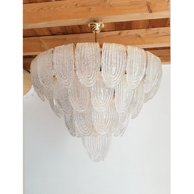 Mazzega Murano Large Mid Century Modern Clear Murano Glass Chandelier, Mazzega Style, Italy 1970s For Sale - Image 4 of 11