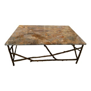 John Richards Marble Top Gold Branch Coffee Table For Sale