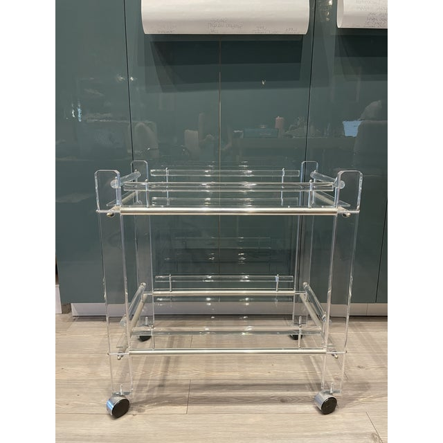 Hollis Jones Two-Tier Lucite Bar Cart With Removable Trays For Sale - Image 11 of 11