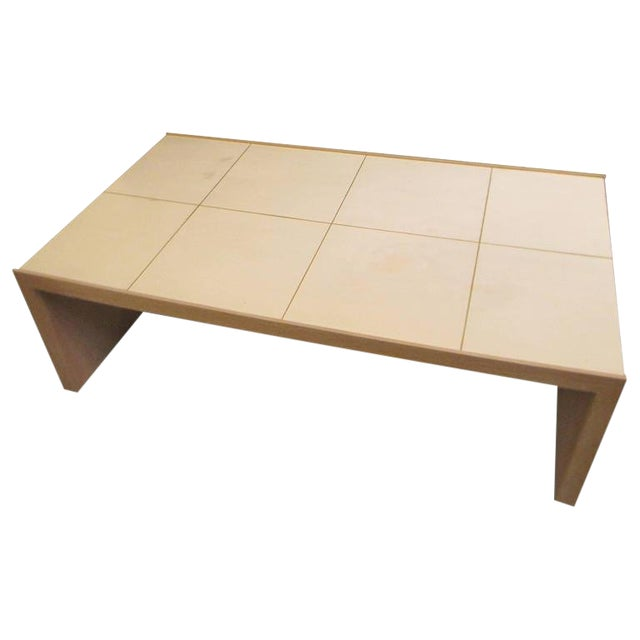 Oversized Cerused Oak and Brass Inlaid Coffee Table For Sale