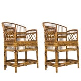Image of Pair of Rattan Chinoiserie Armchairs For Sale