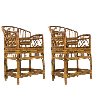 Pair of Rattan Chinoiserie Armchairs For Sale