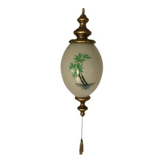 60's Hanging Glass Swag Light With Bamboo Image and Gold Ceramic Finials For Sale