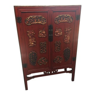 Antique Carved Asian Red Lacquer & Gold Cabinet For Sale