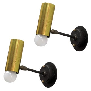 Pair of Boris Lacroix Adjustable Brass Wall Lights For Sale