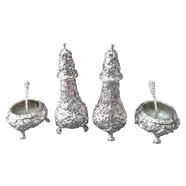 Stieff Rose-Pattern Salt & Pepper Set - Set of 4 - Image 1 of 11
