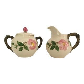 Mid-Century Franciscan China Sugar Bowl & Creamer in Desert Rose Pattern - Set of 2 For Sale