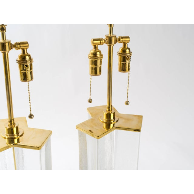 Contemporary Cast Textured Glass Column Table Lamps For Sale - Image 3 of 8