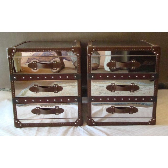 Pair of Handmade of brushed steel over a solid wood frame, Accented with hand-hammered nailheads, 3 canvas-lined drawers,...