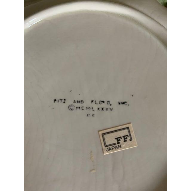Emerald Vintage Fitz & Floyd Cabbage Leaf Ironstone China Dessert Plates- Set of 4 For Sale - Image 8 of 9