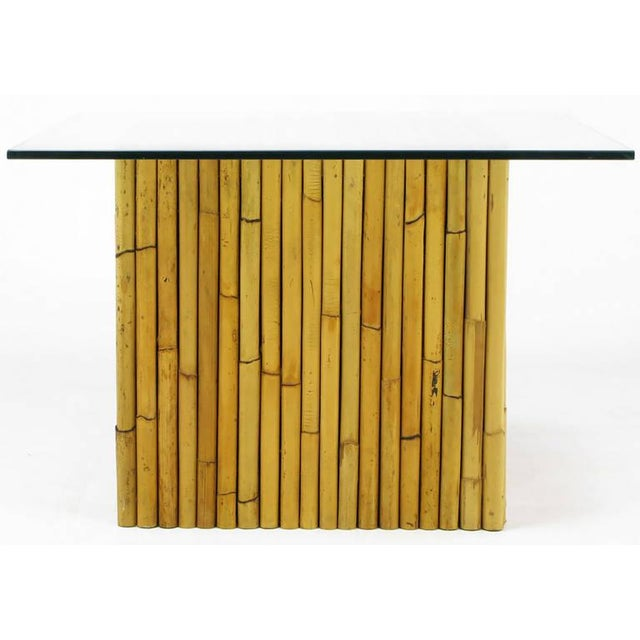 Asian Reeded Bamboo Cube and Glass End Table For Sale - Image 3 of 6
