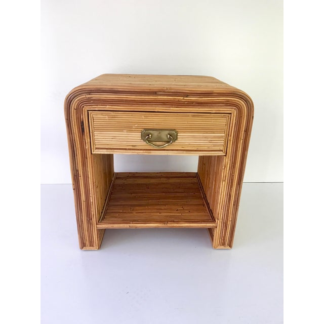 Wood Italian Gabriella Crespi Style Pencil Reed Nightstand For Sale - Image 7 of 9