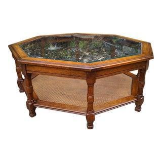 Mid-Century Modern Walnut Octagonal Glass Top & Cane Bottom Coffee Table For Sale