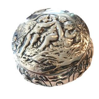 German Silver Round Cherub Box, C.1900 For Sale