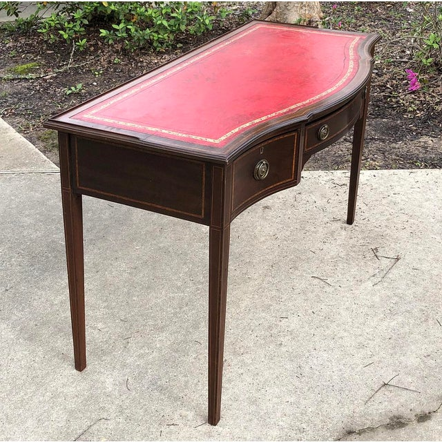 Edwardian Writing Table, Edwardian Period English in Mahogany With Leather Top For Sale - Image 3 of 12