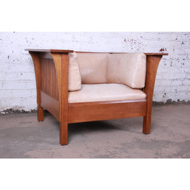 Arts & Crafts Stickley Mission Prairie Armchair With Tan Leather Upholstery For Sale - Image 3 of 13