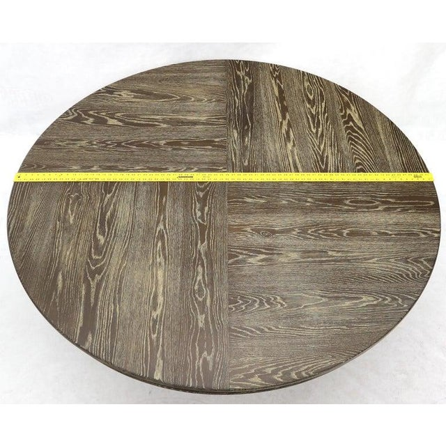 Wood Large Oversize in Diameter Round Cerused Limed Oak Dining Table For Sale - Image 7 of 13