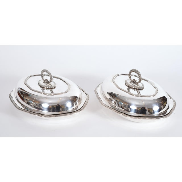 Vintage English Silver Plated Tableware Serving Dishes - a Pair For Sale - Image 12 of 12