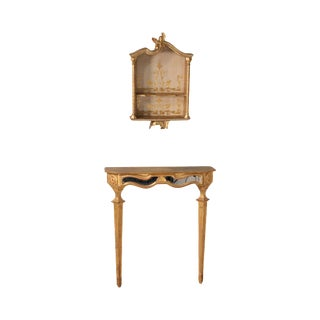 1950's Florentine Gilt Wall Console & Hanging Shelf by Florentine For Sale