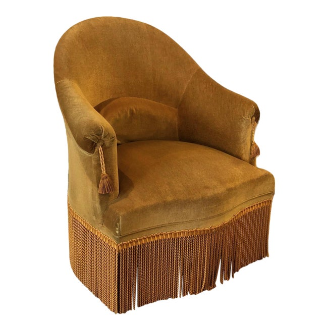 Velvet Crapaud Chair For Sale
