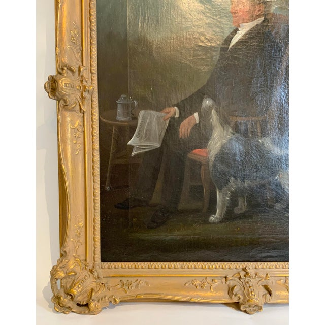 Canvas 19th Century Portrait of a Distinguished Gentleman with Dog Oil Painting, Framed For Sale - Image 7 of 13