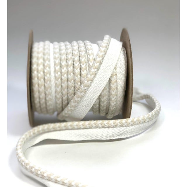"""Textile Braided 1/4"""" Indoor/Outdoor Cord in White/Cream For Sale - Image 7 of 10"""