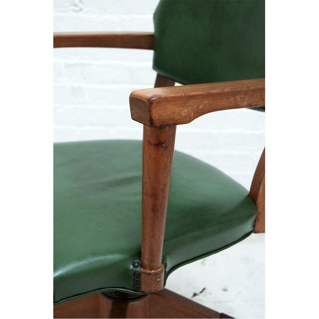 Mid Century Swivel Desk Chair in Green For Sale - Image 5 of 6